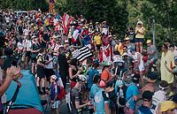 "Roberto Ferrari (ITA/UAE-Emirates) coming through ""Dutch Corner"" (#7) on Alpe d'Huez<br /> <br /> Stage 12: Bourg-Saint-Maurice / Les Arcs > Alpe d'Huez (175km)<br /> <br /> 105th Tour de France 2018<br /> ©kramon"