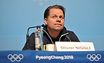 Olivier Niggli (WADA Director General). World Anti Doping WADA press conference. Pyeongchang room. Main Press Centre (MPC). Pyeongchang2018 winter Olympics. Alpensia. Pyeongchang. Republic of Korea. 08/02/2018. ~ MANDATORY CREDIT Garry Bowden/SIPPA - NO UNAUTHORISED USE - +44 7837 394578