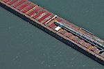 Aerial view of the Canadian Shipping Lines vessel on the Great Lakes