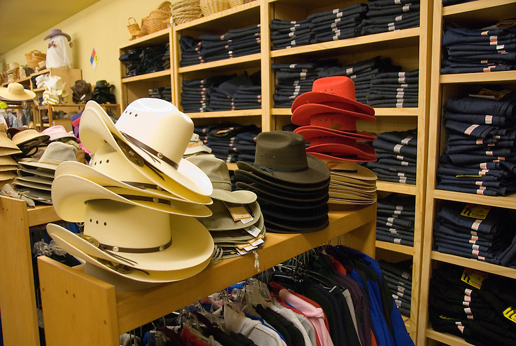 Hats and jeans at Cunha's Country Store, Half Moon Bay,.San Mateo Coast of California, south of San Francisco.  Photo copyright Lee Foster, 510-549-2202, lee@fostertravel.com, www.fostertravel.com. Photo 451-30988