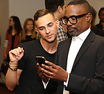 "Adam Rippon and Billy Porter attends the cast photo call for ""Laramie: A Legacy""  on September 24, 2018 at The Gerald W. Lynch Theater at John Jay College in New York City."