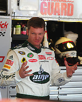 Oct 3, 2008; Talladega, AL, USA; NASCAR Sprint Cup Series driver Dale Earnhardt Jr reacts after blowing an engine during practice for the Amp Energy 500 at the Talladega Superspeedway. Mandatory Credit: Mark J. Rebilas-