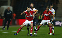 Middlesbrough's Jordan Hugill is closely marked by Preston North End's Tom Clarke<br /> <br /> Photographer Stephen White/CameraSport<br /> <br /> The EFL Sky Bet Championship - Preston North End v Middlesbrough - Tuesday 27th November 2018 - Deepdale Stadium - Preston<br /> <br /> World Copyright © 2018 CameraSport. All rights reserved. 43 Linden Ave. Countesthorpe. Leicester. England. LE8 5PG - Tel: +44 (0) 116 277 4147 - admin@camerasport.com - www.camerasport.com