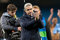 Shakhtar Donetsk Manager Luis Castro celebrates after the UEFA Champions League Group C match between Manchester City and Shakhtar Donetsk at the Etihad Stadium on November 26th 2019 in Manchester, England. (Photo by Daniel Chesterton/phcimages.com)