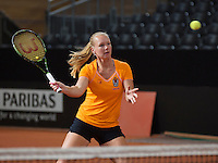 Februari 04, 2015, Apeldoorn, Omnisport, Fed Cup, Netherlands-Slovakia, Training Dutch team, Kiki Bertens<br /> Photo: Tennisimages/Henk Koster