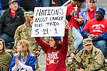 Fans in action during the Armed Forces Bowl game between the Louisiana Tech Bulldogs and the Navy Midshipmen at the Amon G. Carter Stadium in Fort Worth, Texas.