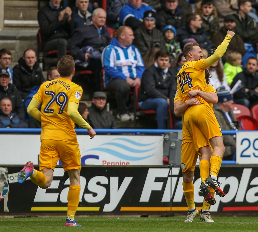Preston North End's Aidan McGeady celebrates scoring his sides first goal with Ben Pearson<br /> <br /> Photographer Alex Dodd/CameraSport<br /> <br /> The EFL Sky Bet Championship - Huddersfield Town v Preston North End - Friday 14th April 2016 - The John Smith's Stadium - Huddersfield<br /> <br /> World Copyright &copy; 2017 CameraSport. All rights reserved. 43 Linden Ave. Countesthorpe. Leicester. England. LE8 5PG - Tel: +44 (0) 116 277 4147 - admin@camerasport.com - www.camerasport.com