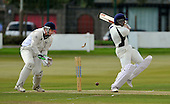 Cricket Scotland Scottish Cup - Uddingston CC V Dunfermline CC at Arbroath CC - early success for Uddingston with Dunfermline opener Gowtham Rai turning the ball on to his wicket (for 2 - bowled Bawa)- Picture by Donald MacLeod - 20.08.11 - 07702 319 738 - www.donald-macleod.com