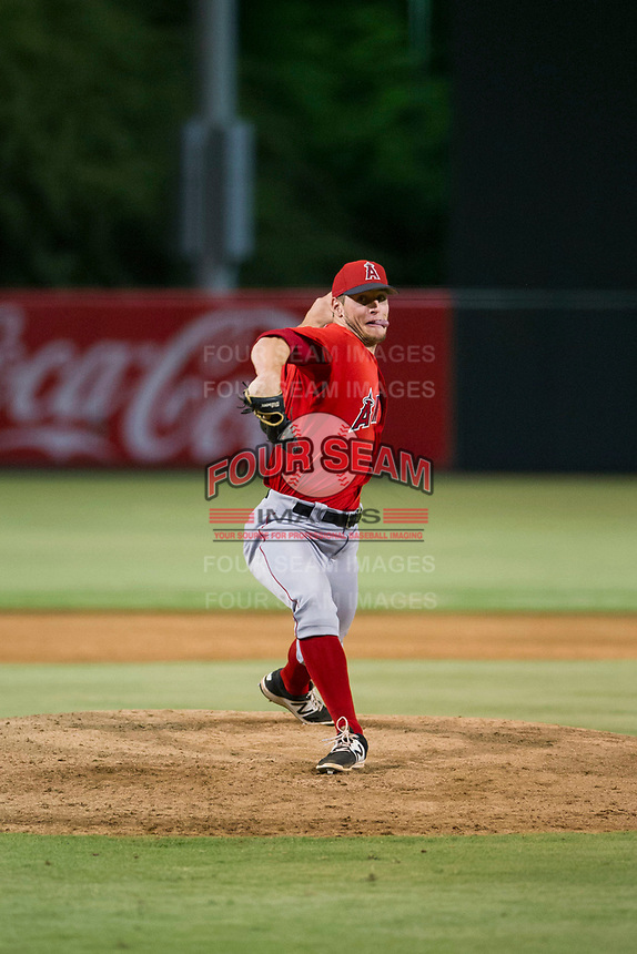 AZL Angels relief pitcher Max Herrmann (44) delivers a pitch to the plate against the AZL Diamondbacks on August 20 at Diablo Stadium in Tempe, Arizona. AZL Angels defeated the AZL Diamondbacks 19-1. (Zachary Lucy/Four Seam Images)