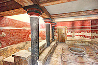 The Throne Room of the Palace in Knossos at Crete, Greece