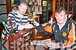 Publican.John O'Sullivan.with barman, Brian.Carty, at the New Kingdom.Bar in Listowel,.one of the 21 pubs left.in Listowel.   Copyright Kerry's Eye 2008