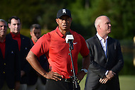 Bethesda, MD - June 26, 2016: Tiger Woods speaks at the conclusion of the Quicken Loans National Tournament at the Congressional Country Club in Bethesda, MD, June 26, 2016. Billy Hurley won the tournament with a final-round 69. (Photo by Don Baxter/Media Images International)