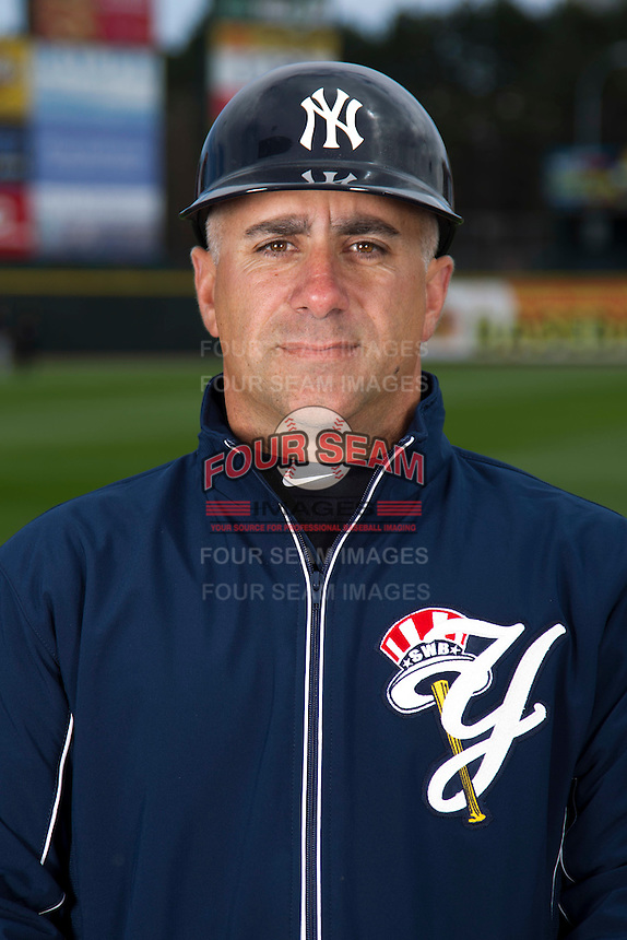 Scranton Wilkes-Barre Yankees coach Frank Menenchino #4 poses for a photo during media day at Frontier Field on April 3, 2012 in Rochester, New York.  (Mike Janes/Four Seam Images)