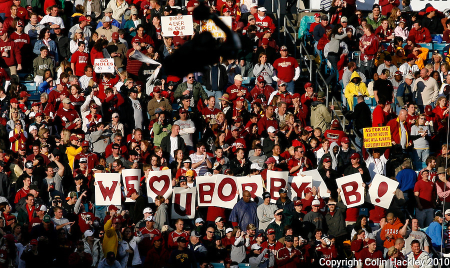 JACKSONVILLE, FL 1/1/10-FSU-WV FB CH71-Florida State fans show support for Bobby Bowden during his final game against West Virginia in the Gator Bowl Friday in Jacksonville, Fla. The Seminoles beat the Mountaineers 33-21..COLIN HACKLEY PHOTO