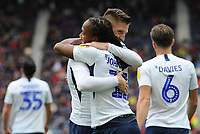 Preston North End's Daniel Johnson celebrates scoring his side's third goal with team-mate Paul Gallagher<br /> <br /> Photographer Kevin Barnes/CameraSport<br /> <br /> The EFL Sky Bet Championship - Preston North End v Barnsley - Saturday 5th October 2019 - Deepdale Stadium - Preston<br /> <br /> World Copyright © 2019 CameraSport. All rights reserved. 43 Linden Ave. Countesthorpe. Leicester. England. LE8 5PG - Tel: +44 (0) 116 277 4147 - admin@camerasport.com - www.camerasport.com