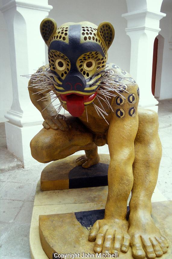 Guerrero Jaguar sculpture byTiburcio Ortiz in the Museum of Oaxacan Painters or Museo de los Pintores Oaxaquenos, Oaxaca city, Mexico