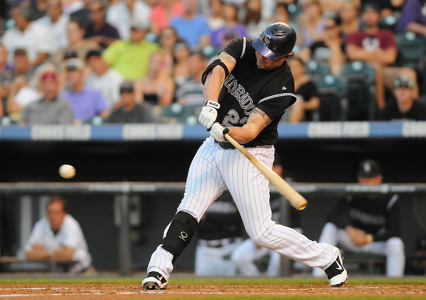 15 AUGUST 2011:  Colorado Rockies first baseman Jason Giambi (23)  during a regular season game between the Florida Marlins and the Colorado Rockies at Coors Field in Denver, Colorado. The Rockies beat the Marlins 7-4. *****For Editorial Use Only*****