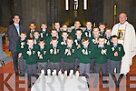 Pupils from the Monastry, Killarney who received their first Holy Communion from Fr Michael Moynihan, in St Mary's Cathedral on Saturday front row l-r: Keelan O'Brien, Ethan Slattery, Lee Ward, Cian Leahy, Cieran Cronin, Liam Sheehan, Calum O'Donoghue. Middle row: Donnacha Warren, Aaron O'Sullivan, Michael McCarthy, Kalem Lloyd, Jack O'Neill, Patrick Komosa, Cian McMahon. Back row: Michael O'Riordan (teacher), Jamie Alade-Roche, Joseph Finbarr, Jason Lee, Colm O'Callaghan, Namejs Bualodis, Mark Moynihan, Kody Morgan and Fr Michael Moynihan..