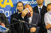 ATENCAO EDITOR IMAGEM EMBARGADA PARA VEICULOS INTERNACIONAIS -  SAO PAULO, SP, 16 OUTUBRO 2012 - O governador de Sao Paulo Geraldo Alckmin durante encontro com prefeitos eleitos do PSDB no Edificio Joelma na região central da capital paulista, nesta terça-feira, 16. A presensa do candidato a prefeitura Jose Serra era esperada o que não aconteceu. (FOTO:   WILLIAM VOLCOV / BRAZIL PHOTO PRESS).