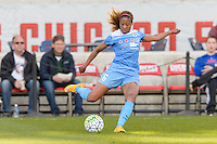 Bridgeview, IL, USA - Saturday, April 23, 2016: Chicago Red Stars defender Casey Short (6) during a regular season National Women's Soccer League match between the Chicago Red Stars and the Western New York Flash at Toyota Park. Chicago won 1-0.