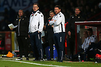 Stevenage manager Darren Sarll (R) and Glenn Roeder on the touchline during Stevenage vs Notts County, Sky Bet EFL League 2 Football at the Lamex Stadium on 11th November 2017