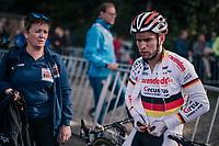 Marcel Meisen (DEU/Corendon&ndash;Circus) after finishing the race<br /> <br /> GP Mario De Clercq / Hotond cross 2018 (Ronse, BEL)