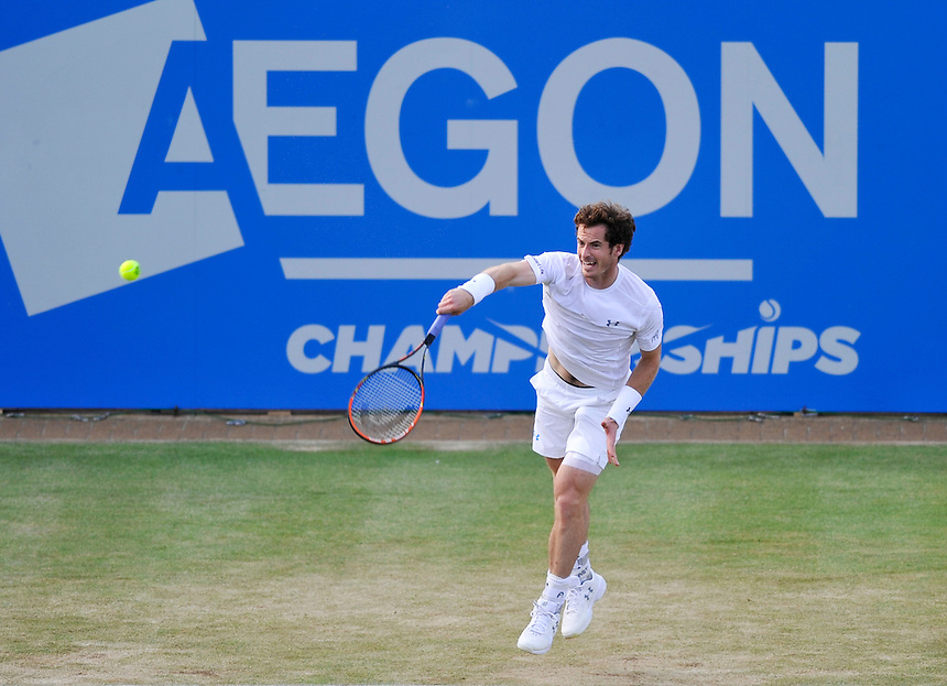 Andy Murray (GBR) in action today during his victory over Gilles Muller (LUX) in their Men&rsquo;s Singles Quarter Final match - Andy Murray (GBR) def Gilles Muller (LUX) 3-6, 7-6, 6-4<br /> <br /> Photographer Ashley Western/CameraSport<br /> <br /> Tennis - ATP 500 World Tour - AEGON Championships- Day 5 - Friday 19th June 2015 - Queen's Club - London <br /> <br /> &copy; CameraSport - 43 Linden Ave. Countesthorpe. Leicester. England. LE8 5PG - Tel: +44 (0) 116 277 4147 - admin@camerasport.com - www.camerasport.com