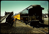 RMRC excursion train by coaling trestle possibly in Alamosa.<br /> D&amp;RGW  Alamosa ?, CO