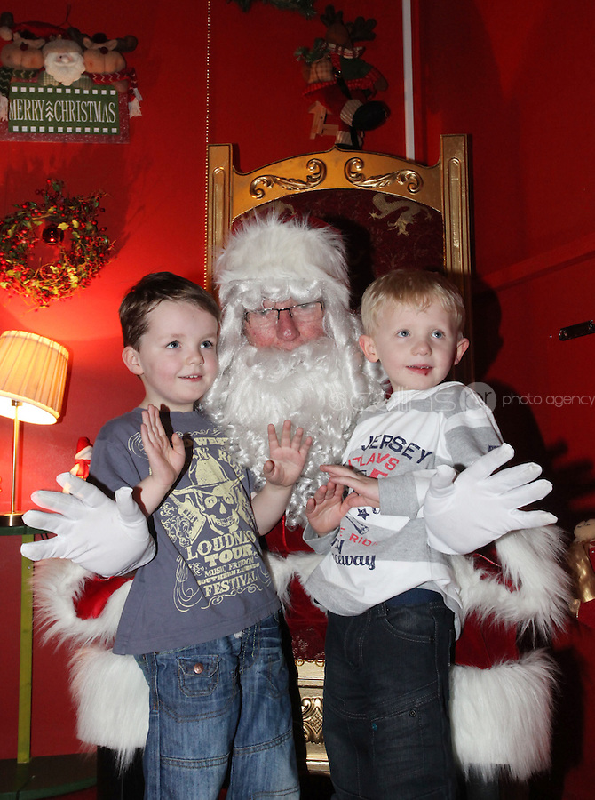 ****NO FEE PIC ******.19/11/2011.(L to r).Ryan O' Leary & Sean Whitehead from Dublin.at the opening of Santa's Playland in The Ambassador Theatre,Dublin.One of this Christmas' biggest events is coming!  Santa's Playland takes up residence at The Ambassador Theatre in preparation for this year's festive season.  The spectacular event opens on Saturday 19 November and runs until Friday 23 December. Santa's Playland will see children transported to a magical Christmas paradise.On entering Santa's Playland children will be treated to a special Christmas play time.  The Play Area is full of Christmas treats with bouncy castles, slides and Christmas displays..Photo: Gareth Chaney Collins