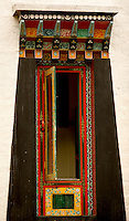Art in Buddhist Monastery architecture in Sikkim, India - hand crafted and painted windows