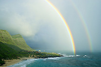 An early morning rainstorm helps to create a spectacular Hawaiian Rainbow near Makapuu Beach Park,Oahu.