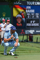 Jon Rahm (ESP) lines up his birdie putt on 9 during round 1 of the 2019 Tour Championship, East Lake Golf Course, Atlanta, Georgia, USA. 8/22/2019.<br /> Picture Ken Murray / Golffile.ie<br /> <br /> All photo usage must carry mandatory copyright credit (© Golffile | Ken Murray)