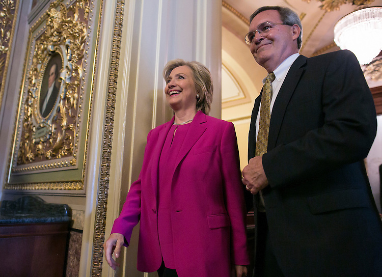 UNITED STATES - JUNE 14 - Presidential candidate Hillary Clinton makes her way through the Capitol en route to the Democratic Senate Policy luncheon in Washington, Tuesday, July 14, 2015. (Photo By Al Drago/CQ Roll Call)