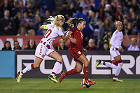 San Diego, CA - Sunday January 21, 2018: Mallory Pugh prior to an international friendly between the women's national teams of the United States (USA) and Denmark (DEN) at SDCCU Stadium.