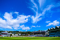 A general view during day two of the Plunket Shield cricket match between the Wellington Firebirds and Otago Volts at the Basin Reserve in Wellington, New Zealand on Tuesday, 22 October 2019. Photo: Dave Lintott / lintottphoto.co.nz