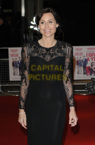 Minnie Driver.attending the 'I Give It A Year' European film premiere, Vue West End cinema, Leicester Square, London, England, UK, 24th January 2013..half length black lace beaded sheer long sleeve dress see thru through bra knickers underwear .CAP/CAN.©Can Nguyen/Capital Pictures.
