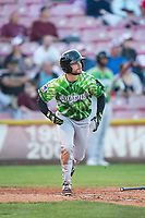 Eugene Emeralds second baseman Levi Jordan (20) starts down the first base line during a Northwest League game against the Salem-Keizer Volcanoes at Volcanoes Stadium on August 31, 2018 in Keizer, Oregon. The Eugene Emeralds defeated the Salem-Keizer Volcanoes by a score of 7-3. (Zachary Lucy/Four Seam Images)