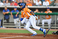 Tennessee Smokies Charcer Burks (3) runs to first base during a game against the Biloxi Shuckers on August 10, 2019 in Kodak, Tennessee. The Shuckers defeated the Smokies 7-3. (Tony Farlow/Four Seam Images)