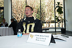 John Wolford (10) of the Wake Forest Demon Deacons answers questions during Media Day for the 2017 Belk Bowl at the Charlotte Convention Center on December 28, 2017 in Charlotte, North Carolina.  (Brian Westerholt/Sports On Film)