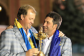 Winning European Team Captain Jose Maria Olazabal (ESP) and Peter Hanson (SWE) after Sunday's Singles Matches of the 39th Ryder Cup at Medinah Country Club, Chicago, Illinois 30th September 2012 (Photo Colum Watts/www.golffile.ie)