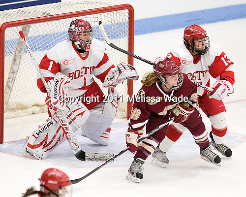 Kerrin Sperry (BU - 1), Kate Leary (BC - 28), Kaleigh Fratkin (BU - 13) - The visiting Boston College Eagles defeated the Boston University Terriers 3-1 on Saturday, November 5, 2011, at Walter Brown Arena in Boston, Massachusetts.