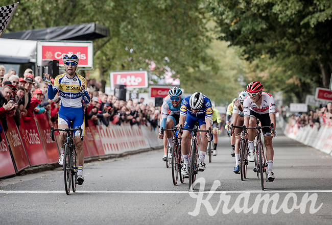 Piet Allegaert (BEL/Sport Vlaanderen-Baloise) beats Florian Sénéchal (FRA/Deceuninck - Quick Step) and Jasper Stuyven (BEL/Trek-Segafredo) on the finish line<br /> <br /> 79th Tour de l'Eurométropole 2019 (BEL/1.HC)<br /> One day race from La Louvière to Tournai (177km)<br /> <br /> ©kramon