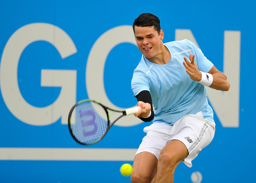 Milos Raonic (CAN) in action today during his victory over Richard Gasquet (FRA) in their Men&rsquo;s Singles Second Round match - Milos Raonic (CAN) def Richard Gasquet (FRA) 6-4, 6-7, 6-1<br /> <br /> Photographer Ashley Western/CameraSport<br /> <br /> Tennis - ATP 500 World Tour - AEGON Championships- Day 3 - Wednesday 17th June 2015 - Queen's Club - London <br /> <br /> &copy; CameraSport - 43 Linden Ave. Countesthorpe. Leicester. England. LE8 5PG - Tel: +44 (0) 116 277 4147 - admin@camerasport.com - www.camerasport.com