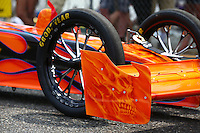 Aug. 2, 2014; Kent, WA, USA; Detailed view of the front wing and front wheels on the NHRA top fuel dragster of Mike Salinas during qualifying for the Northwest Nationals at Pacific Raceways. Mandatory Credit: Mark J. Rebilas-