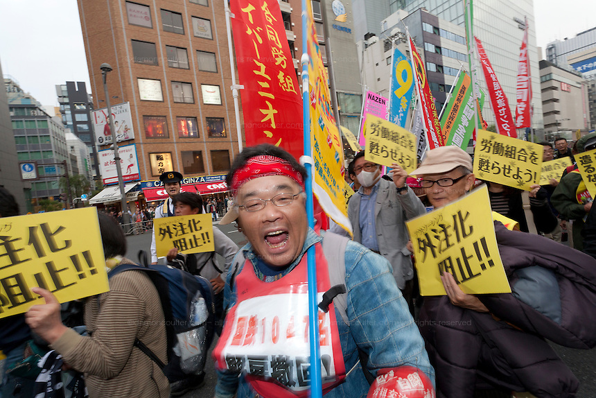 Left wing and unionists march during a protest rally in Tokyo, Japan. Sunday November 3rd  2013