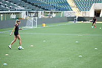 PORTLAND, OR - MAY 09: Kelly Hubly #20 of the Portland Thorns trains individually for the first time since the COVID-19 outbreak at Providence Park on May 09, 2020 in Portland, Oregon.
