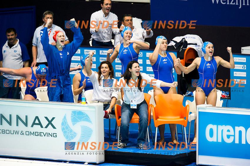 Setterosa Italia Campione d'Europa.Esultanza della panchina.Eindhoven , Netherlands (NED) 28/1/2012.LEN European  Water Polo Championships 2012.Day 13 - Women.Greece  (White) - Italia  (Blue).Photo Insidefoto / Giorgio Scala .