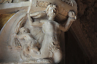 Figure in carved stucco, from the frame of the fresco of the Battle of the centaurs and the lapiths, by Rosso Fiorentino, 1535-37, in the Galerie Francois I, begun 1528, the first great gallery in France and the origination of the Renaissance style in France, Chateau de Fontainebleau, France. The Palace of Fontainebleau is one of the largest French royal palaces and was begun in the early 16th century for Francois I. It was listed as a UNESCO World Heritage Site in 1981. Picture by Manuel Cohen