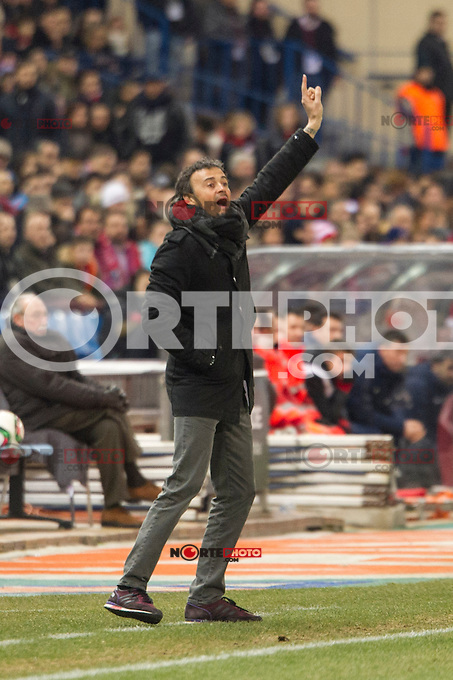 Barcelona&acute;s coach Luis Enrique during 2014-15 Spanish King Cup match between Atletico de Madrid and Barcelona at Vicente Calderon stadium in Madrid, Spain. January 28, 2015. (ALTERPHOTOS/Luis Fernandez) /nortephoto.com<br />