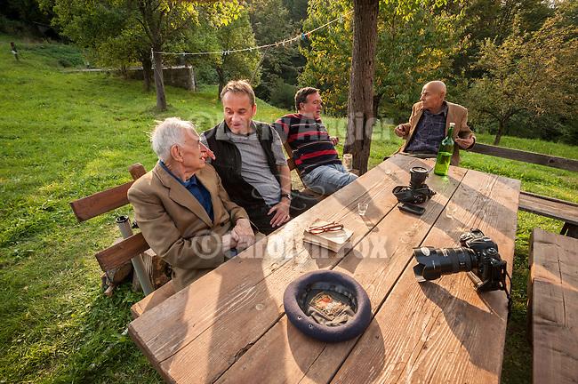 Dr. Andrija Djuricic, Miloje Milinkovic, Milan Milinkovic and Vaso Djuricic vista at a country home, Kremna, Serbia